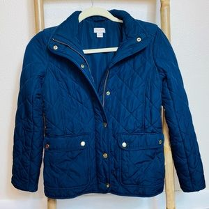 J. Crew quilted navy blue women's jacket XXS coat